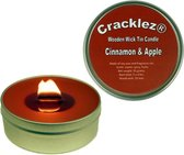 Cracklez® Knetter Houten Lont Geur Kaars in blik Appel en Kaneel. Rood-bruin.