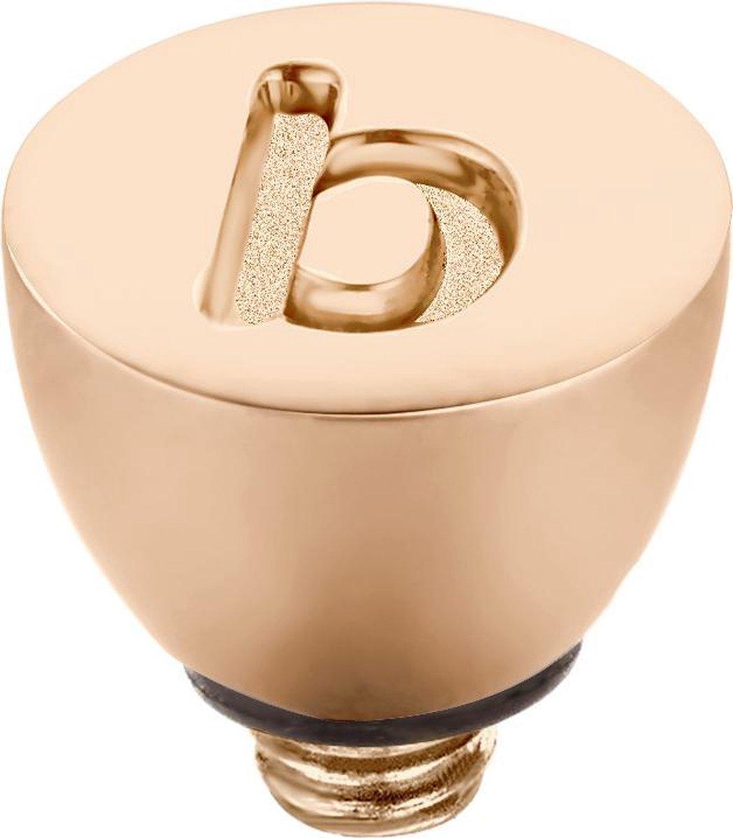 Melano Twisted steentje - letter B- dames - rosekleurig - 6 mm - Melano Jewelry