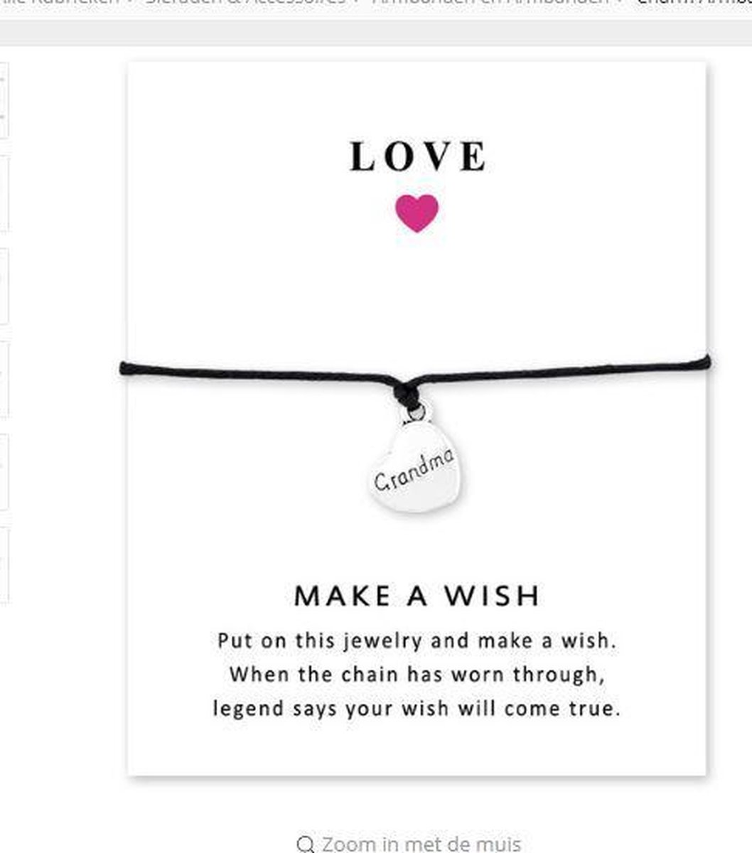 Onwijs bol.com | Wenskaart voor oma - armband met hartje grandma - cadeau WT-88