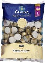 Horeca Gouda Theelichten 6uur 38mm zak Wit kwaliteit bulk (150 stuks)
