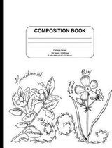 Composition Notebook with Vintage Coloring Flower