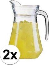 2 stuks glazen schenkkan 1,6 liter