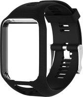 Siliconen horloge bandje – Wrist strap – Polsband - Geschikt voor Tomtom Adventurer - Golfer 2 - Spark - Runner 2/3 - Zwart