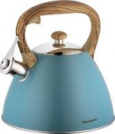 Fluitketel Inductie Gas Waterkoker 3.0 L '' Adriatico '' RVS Chroom Turquoise OP=OP!