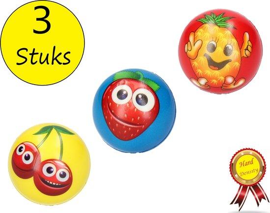 Afbeelding van het spel Stressbal Hard Density – 6 cm – Sensomotorische Stimulatie – Anti Stress – 3 stuks – Met Afbeelding Fruit