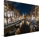 Het Rijksmuseum achter de Spiegelgracht in Amsterdam Canvas 120x80 cm - Foto print op Canvas schilderij (Wanddecoratie woonkamer / slaapkamer)