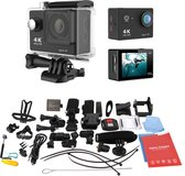 Zwarte Actie Camera  12MP 4k Ultra HD  + Extra accu + 44 in 1  Universeel Accessoires set GoPro Hero 3 4 EKEN Actioncam Waterdicht set