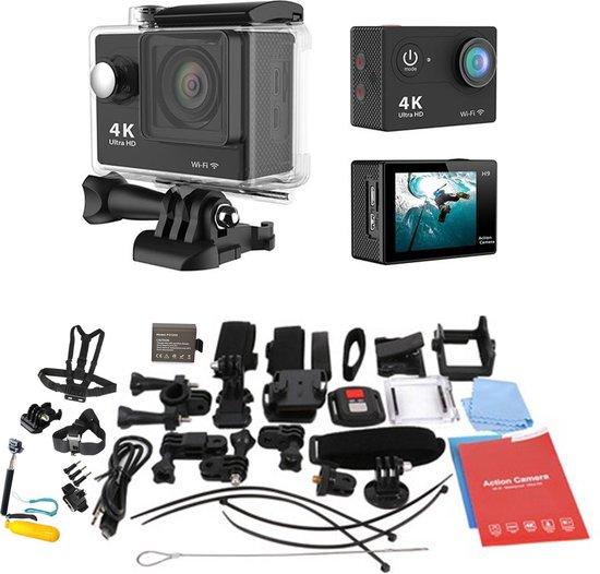 Zwarte Actie Camera  12MP 4k Ultra HD  + Extra accu + 44 in 1  Universeel Accessoires set GoPro Hero 3 4 EKEN Actioncam Waterdicht set