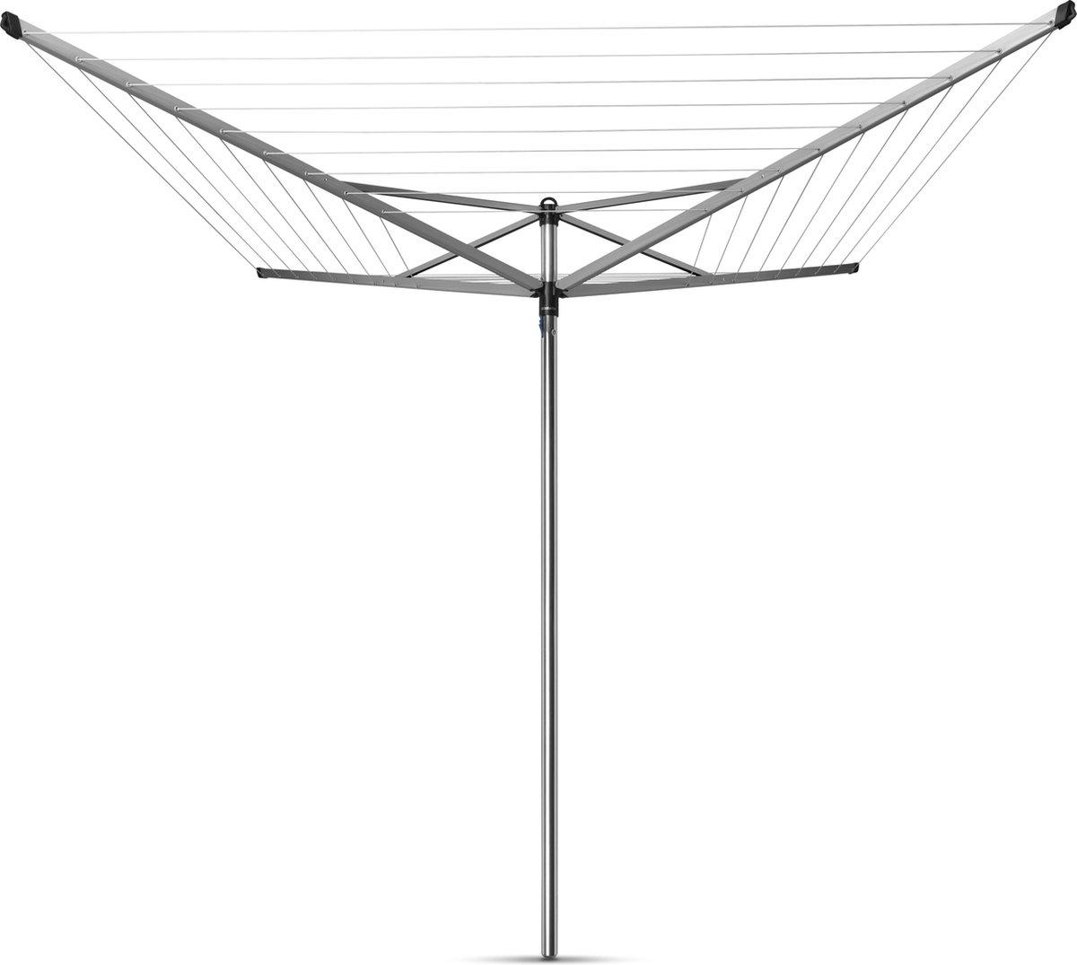 Brabantia Topspinner Droogmolen met Grondanker en Beschermhoes - 50 m - Metallic Grey