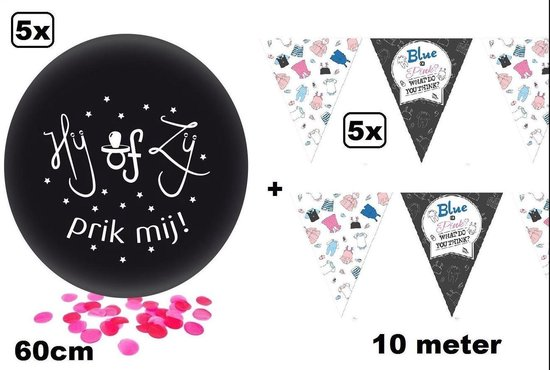 5x Gender reveal ballon met roze confetti + 5x vlaggenlijn gender reveal 10 meter