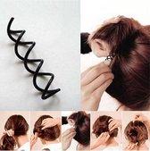 Haar Styling hulpstuk - haarclip tool - Spiraal Volume creatie - spiral haarspeld - Haarschuifje - Metaal Elastiekje - 2 stuks