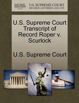 U.S. Supreme Court Transcript of Record Roper V. Scurlock