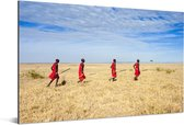 Kenianen in de savanne bij het Masai Mara gebied in Kenia Aluminium 60x40 cm - Foto print op Aluminium (metaal wanddecoratie)