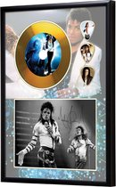 Golddiscdisplay met plectrums Michael Jackson ingelijst