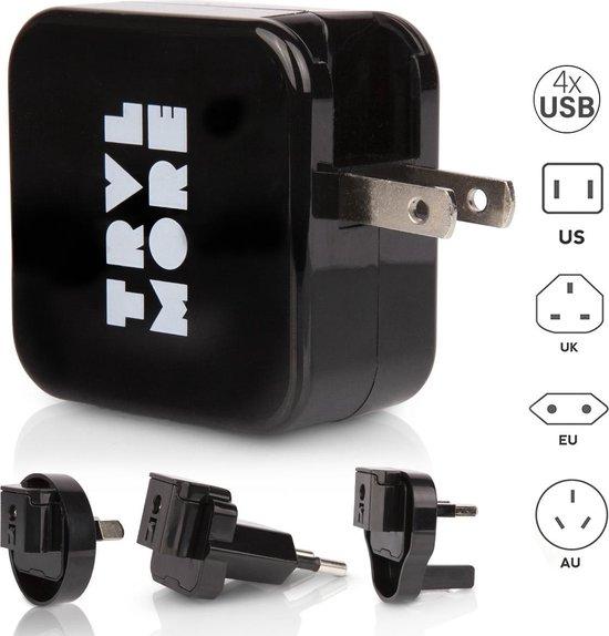TravelMore USB Oplader Met 4 Poorten - 4 in 1 Stekker Lader Voor Thuis En Op Reis - Universele Wereldstekker voor 150+ Landen - Travel Adapter - Reisstekker - Amerika(USA) - Europa - Australië - Zuid Amerika - Azië - Engeland (UK) - Zwart