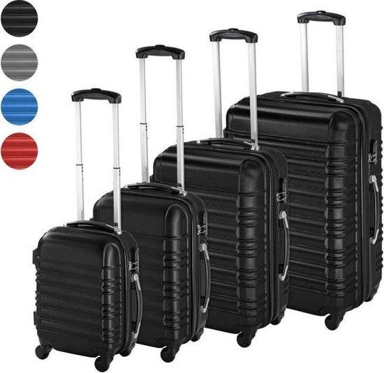 Luxe Reiskoffer Met Cijferslot Set - Inclusief Handbagage Koffer - Travel Suitcase Set Op Wielen - Lichtgewicht Kofferset - Trolley Met Handige Telescoop Steel & Handvat - 4-Delig - Zwart