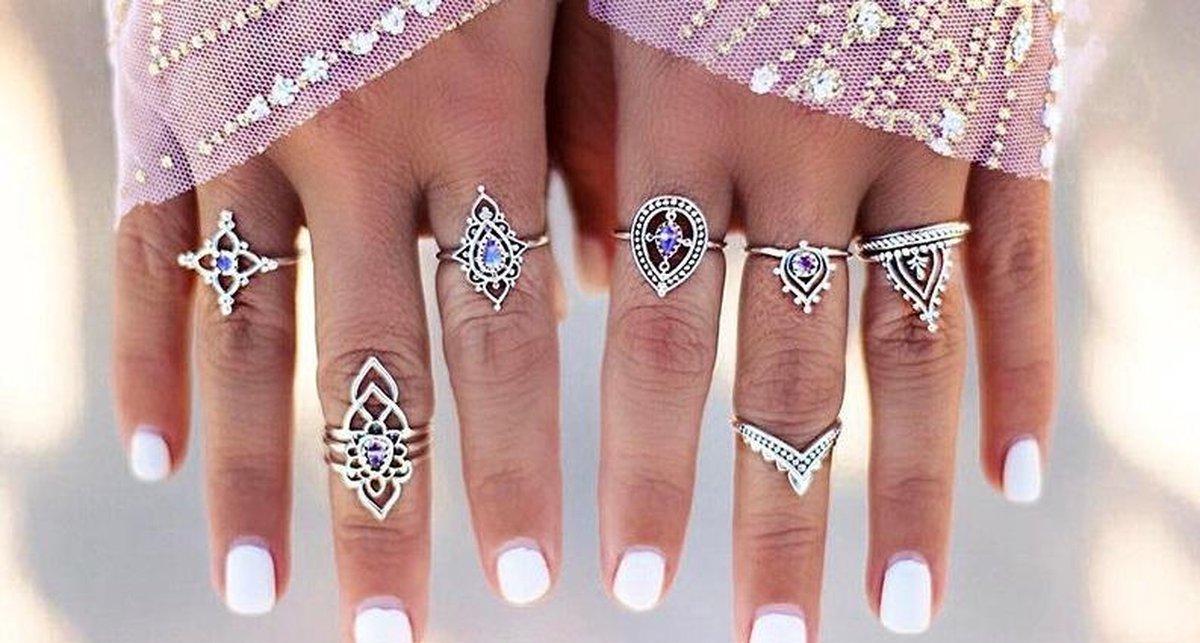 10-Delige Bohemian ringenset - Bohemian Jewelry