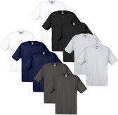 Fruit of the Loom T-shirt 100% katoen 10 stuks Multi-kleur Maat XL