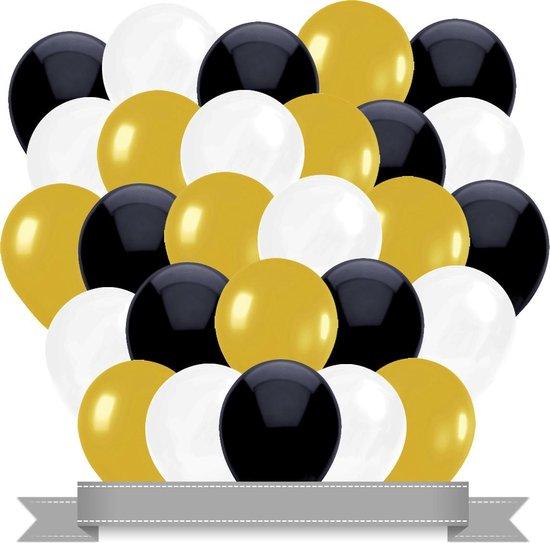 Ballonnen Goud / Wit / Zwart  (30ST)