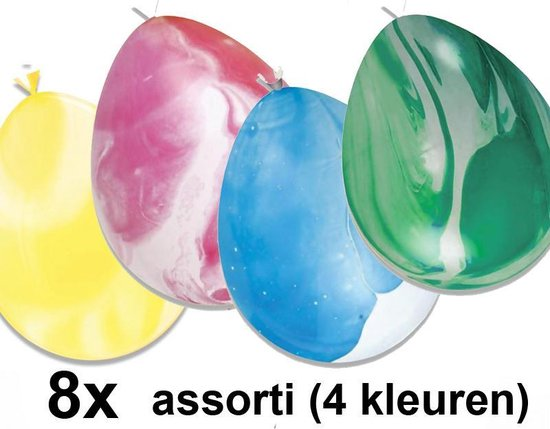 Marble ballonnen (gemarmerd) gemixte kleuren, 8 stuks, 30 cm