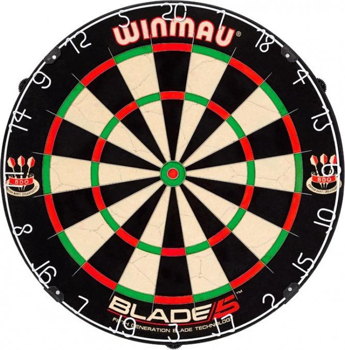 winmau blade 5 incl. rubberen surround ring blauw en scorebord