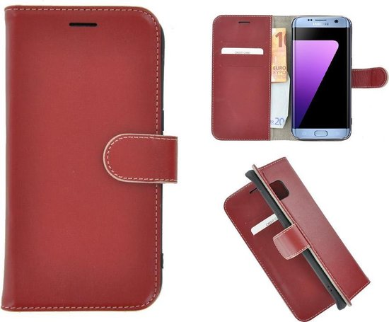 Pearlycase® Echt Leer Wallet Bookcase Samsung Galaxy S7 Edge - Donkerrood