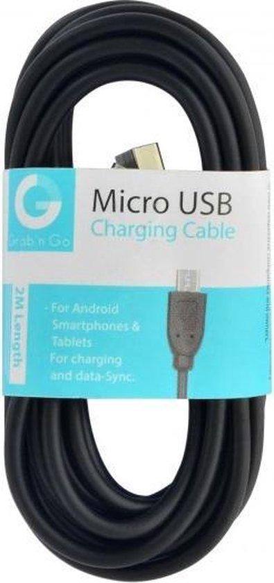 GnG Grab n Go Micro USB Kabel 2 Meter Zwart