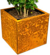 Yoepplanter Plantenbak  - 3x Innovatie: Koppelbare Verrijdbare en Wisselbaar Design - Grote Bloembak Bloempot Plantenpot - Binnen Buiten Tuin Balkon en Huiskamer - Groot 40x40x40 Vierkant  Corten-Staal