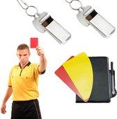 Scheidsrechter Set Met Fluit Rode & Gele Kaarten - Voetbal Scheidsrechterkaarten - Referee Accessory Soccer Set Met Aantekeningen Boek