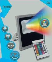 PROFILE RGB LED straler flat - met afstandsbediening - 10W - IP65 - grijs