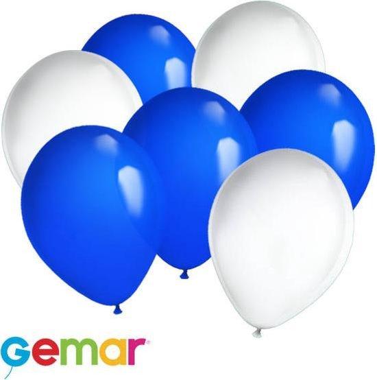 30x Ballonnen Blauw en Wit (Ook geschikt voor Helium)