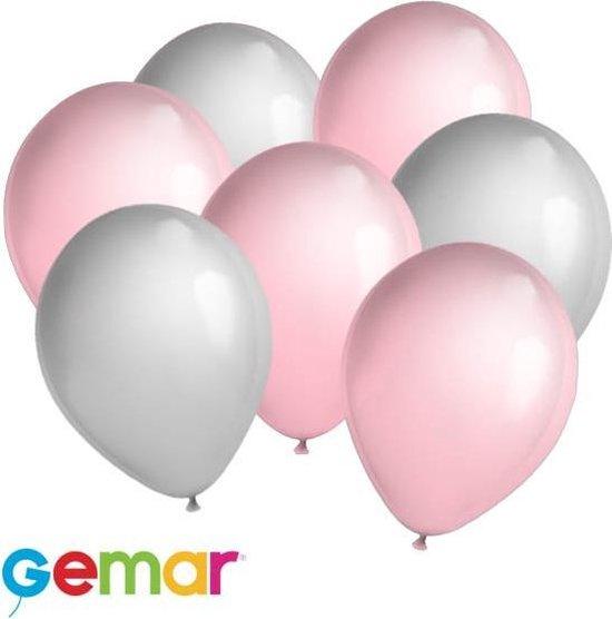 30x Ballonnen Zilver en Lichtroze (Ook geschikt voor Helium)
