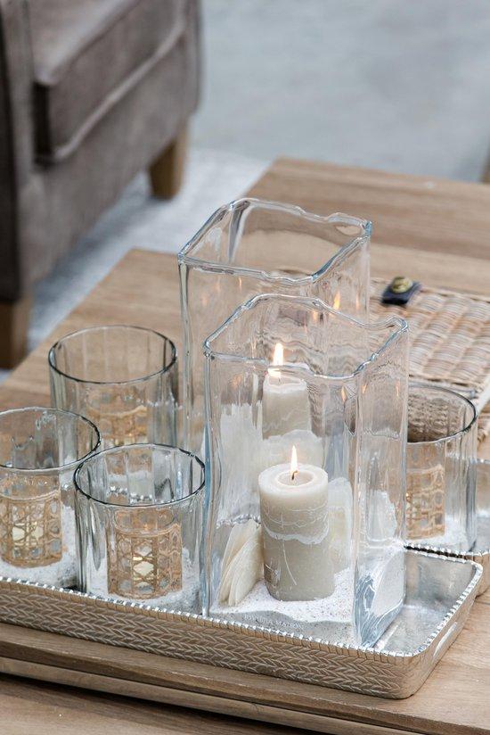Riviera Maison Namasté Classic Weave Votive - Waxinelichtjeshouder - Glas