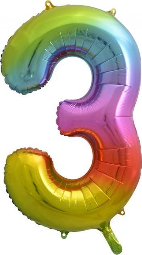 Folie ballon cijfer 3 is 86 cm groot regenboog kleuren