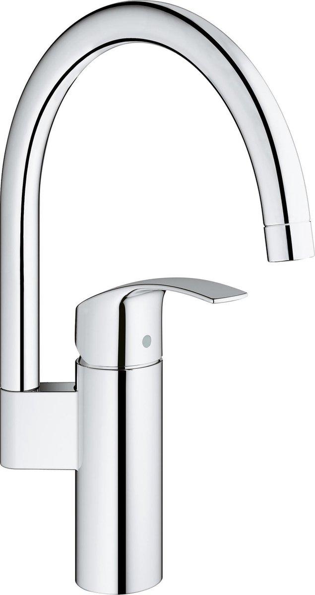 GROHE Eurosmart New Keukenkraan - hoge draaibare C-uitloop - zonder uittrekbare handdouche - chroom