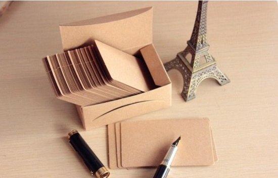 Afbeelding van 100 mini kraft kaartjes in bewaarboxje - kleine blanco kaartjes speelgoed