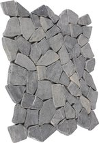 Mozaïektegel breuksteen marmer grijs 30 x 30 cm