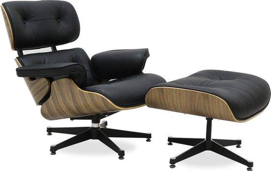 GB Feautuil met Ottoman - Walnoot Eames model - leder