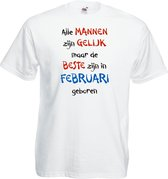 Mijncadeautje - T-shirt - wit - maat XXL- Alle mannen zijn gelijk - februari