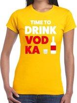 Time to drink Vodka tekst t-shirt geel dames - dames shirt Time to drink Vodka L