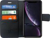 Lederen Hoesje Wallet voor Apple iPhone Xr Zwart - Book Case Cover van iCall