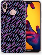Huawei P20 Lite TPU Siliconen Hoesje Design Feathers Color