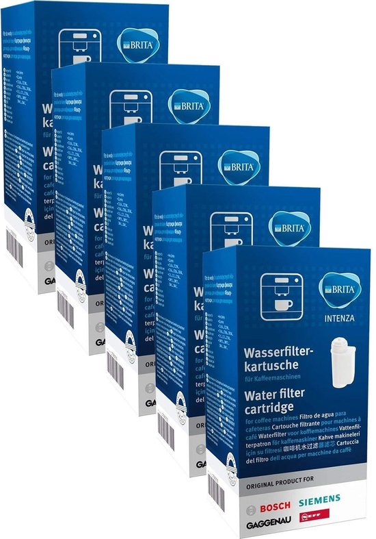 5x Brita Intenza Waterfilter - Bosch - Siemens waterfilter 00575491 / Intenza / TCZ7003 / TZ70003 / 575491