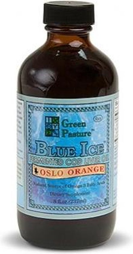 Green pasture's Green Pasture BLUE ICE™ gefermenteerde levertraan, Sinaasappel smaak – 237 ml