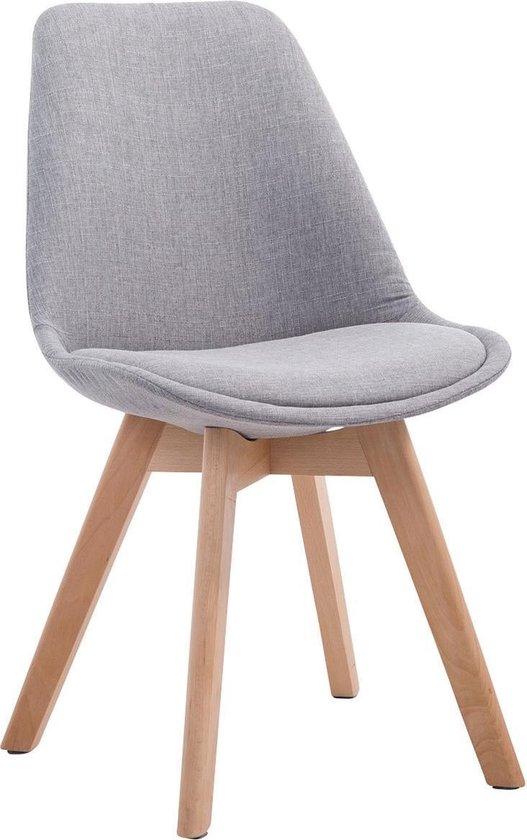 Clp Retro design eettafel stoel BORNEO V2 eetkamerstoel- kuipstoel met houten onderstel, stof - grijs, kleur onderstel : natura