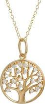 Fate Jewellery Ketting FJ460 - Tree Of Life - 925 Zilver - Goud verguld - Levensboom - 45cm + 5cm