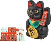 Maneki Neko - zwaaiende kat - geluksbrenger Chinese kat - Japanse gelukskat Lucky Cat Zwart