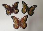 Vlinder wandhangers set van 3 stuks