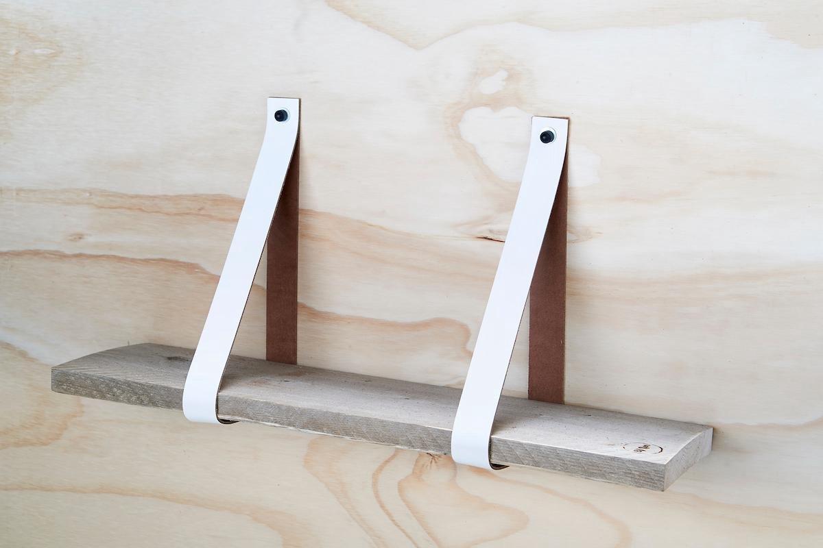 leren plankdragers Wit