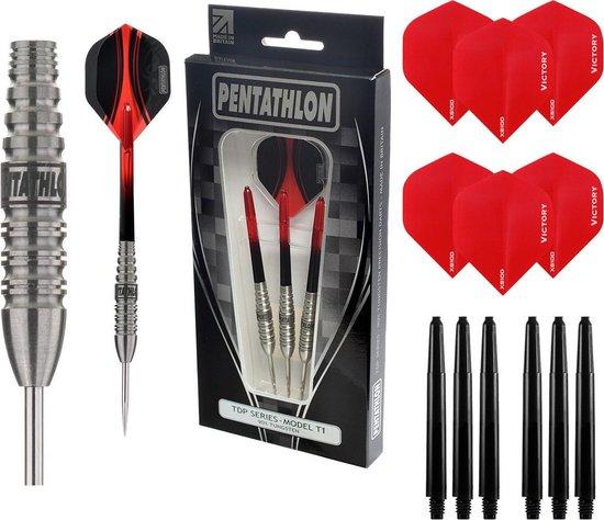 Pentathlon - T1 Rood 24 gram 90% Tungsten – dartpijlen – inclusief bijpassende – darts shafts – en – darts flights